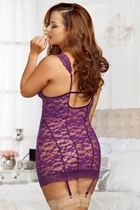 Purple Lace Garter Dress with G-string