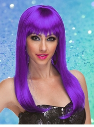 Purple Long Straight Wig with Bangs Classy