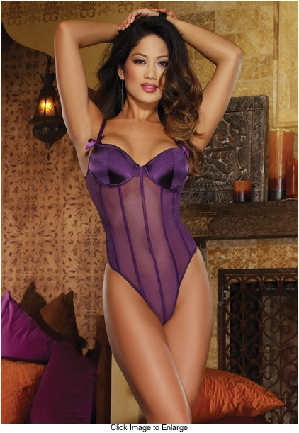 Purple Mesh Bodysuit with Open Back