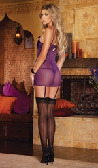 Purple Mesh Garter Dress and Thong