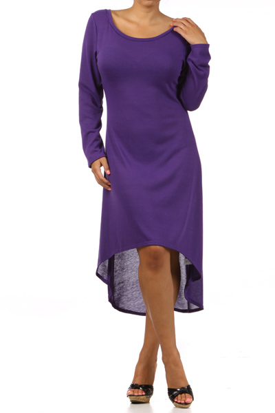 Purple Plus Size Long Sleeve Knit Dress with Scoopback Neckline