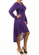 Purple Plus Size Long Sleeve Knit Dress with Scoopback Neckline inset 2