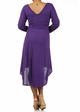 Purple Plus Size Long Sleeve Knit Dress with Scoopback Neckline inset 3