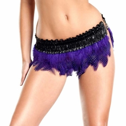 Purple Polka Dot Feather Shimmy Mini Skirt