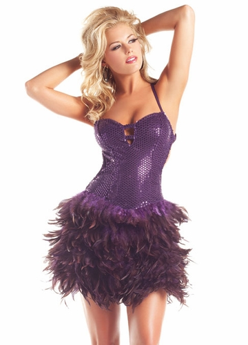 Purple Sequin and Feather Dress