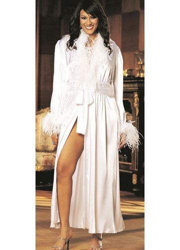 Queen Size Long Robe with Ostrich Feather Trim