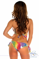 Rainbow Foil Dot Pucker Back Bikini