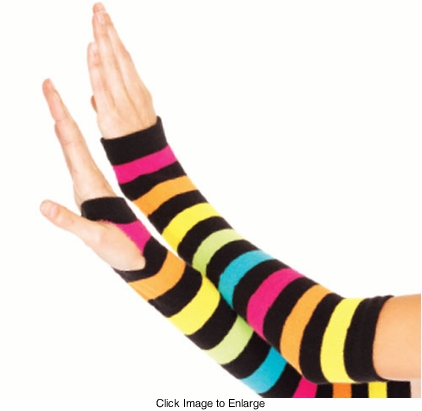 Rainbow Stripe Fingerless Arm Warmers