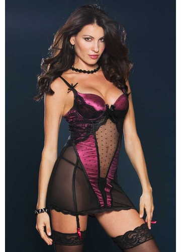 Raspberry Satin and Mesh Garter Dress with Open Lace-Up Back