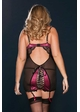Raspberry Satin and Mesh Garter Dress with Open Lace-Up Back inset 2