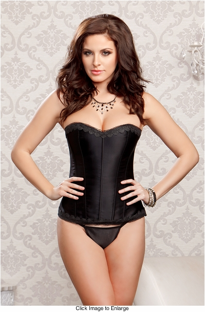 Raven Black Satin Corset and G-string