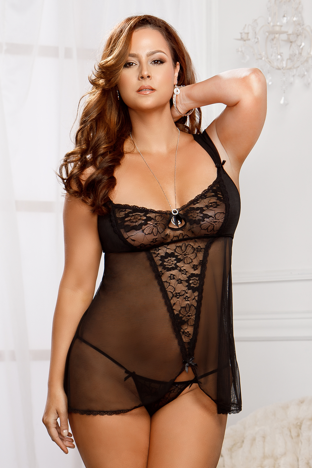 Raven Lace Babydoll and G-string