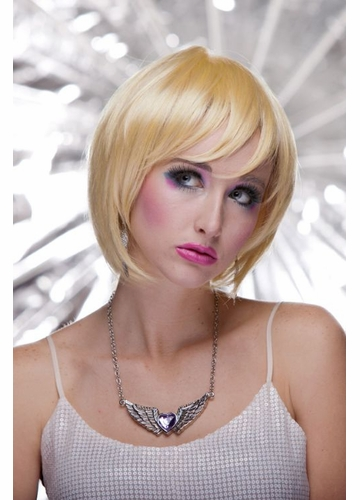 Razor Cut Bob Wig With Bangs in Apricot Blonde