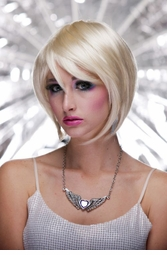 Razor Cut Bob Wig With Bangs in California Blonde