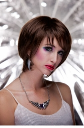 Razor Cut Bob Wig With Bangs in Chocolate