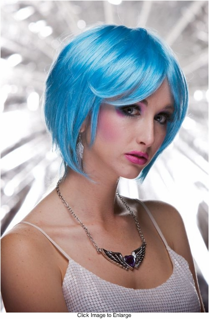 Razor Cut Bob Wig With Bangs in Cool Blue