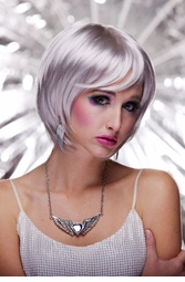 Razor Cut Bob Wig With Bangs in Edgy Chrome