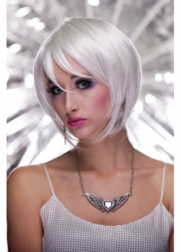 Razor Cut Bob Wig With Bangs in Snow White