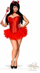 Red Corset Devil 4-piece Costume with Skirt, Horns and Pitchfork