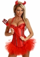 Red Corset Devil 4-piece Costume with Skirt, Horns and Pitchfork inset 2