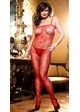Red Floral Fishnet Bodystocking with Spaghetti Straps inset 2
