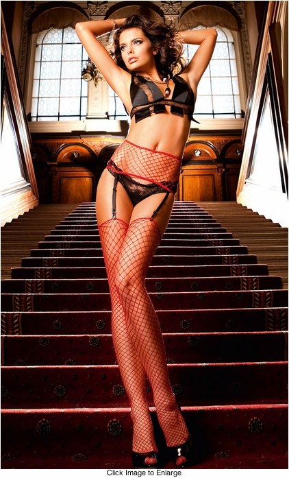 Red Industrial Net Garter Stockings