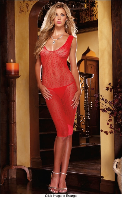 Red Leopard Net Dress and G-string