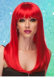 Red Long Straight Wig with Bangs Classy
