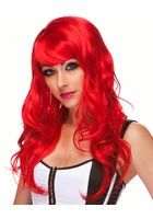 Red Long Tousled Curl Wig Burlesque