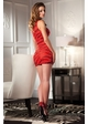 Red Mesh Asymmetrical Mini Dress inset 1