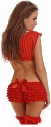 Red Ruffle Shorts with Bow Accents