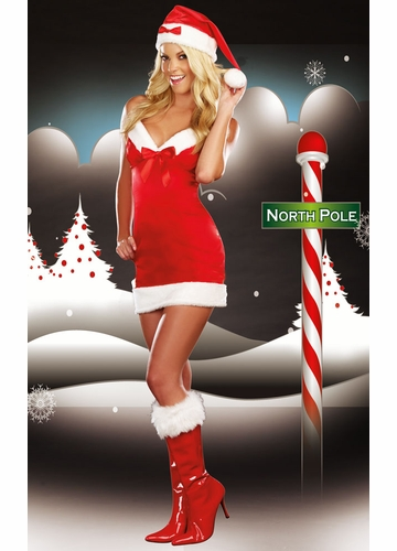 Red Satin Christmas Costume Dress and Hat