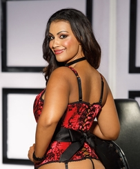 Red Satin Corset with Bow Back