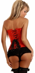 Red Satin Corset with Steel Boning and Lace-up Back