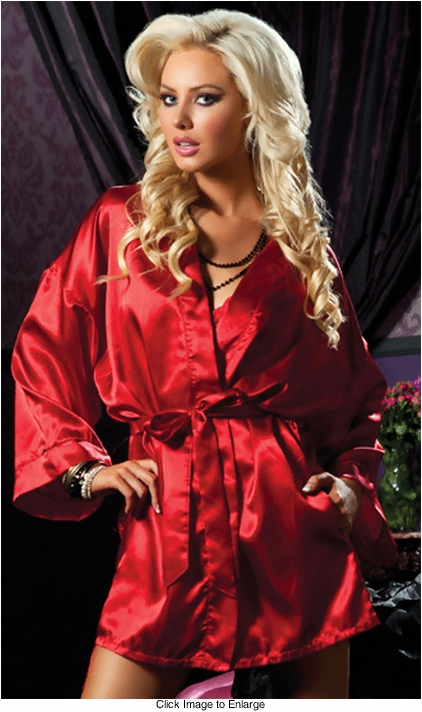 Red Satin Robe with Pockets