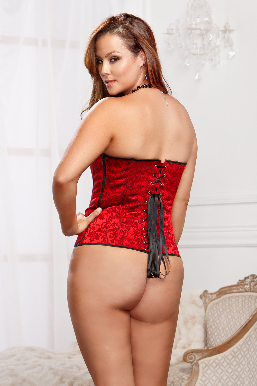 Red Scroll Corset and G-string