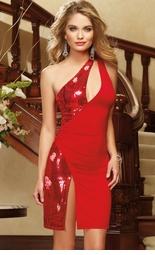 Red Sequin Dress with Open Back