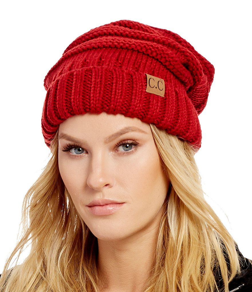Red Slouchy Knit CC Beanie Hat