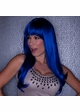 Regal Blue Straight Long Kelly Wig with Full Bangs inset 1