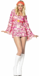 Retro Daisy Bell Sleeve Mini Dress
