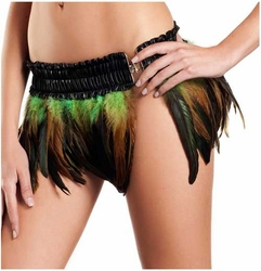 Rio Dancer Feather Skirt in Green