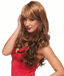 Romantic Curly Wig with Side Swept Bangs