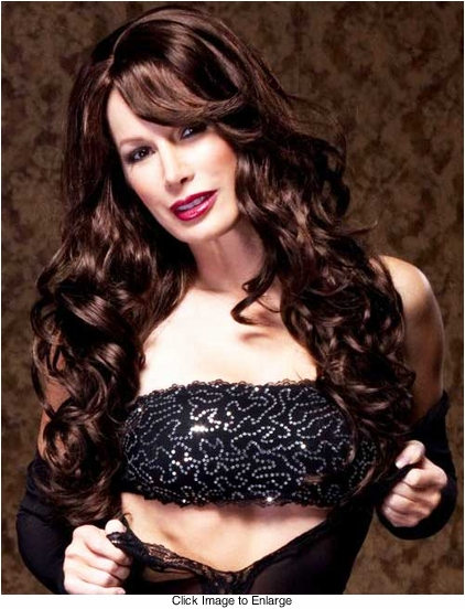 Romantic Curly Wig with Side Swept Bangs Broadway