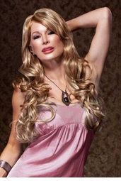 Romantic Curly Wig with Side Swept Bangs in Frosted Blonde