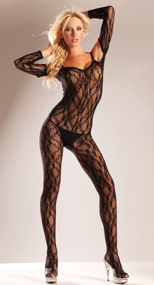 Rose Lace Bodystocking With Off shoulder Sleeves