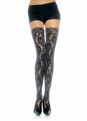 Rose Lace Stockings with Lace Top