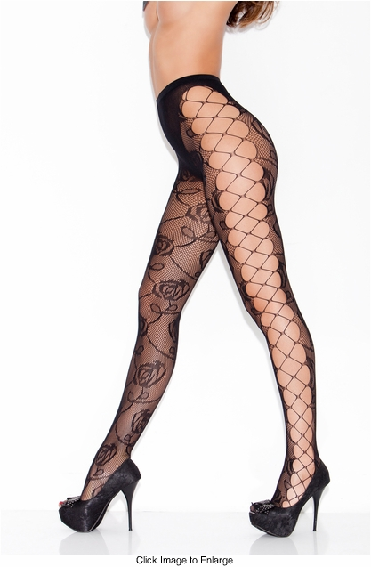Rose Net Pantyhose with Open Criss Cross Sides