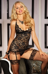 Royal Lace Gartered Chemise and G-string
