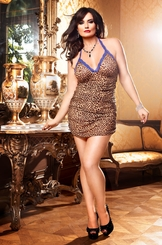 Ruched Leopard Mesh Mini Dress with Blue Lace