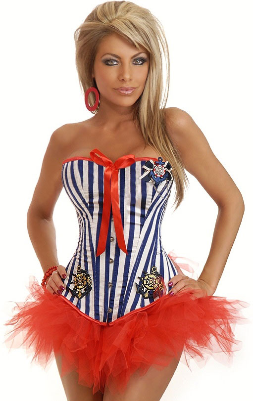 Sassy Sailor Corset Costume with Pettiskirt
